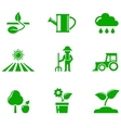 green agriculture icons set vector image vector image