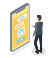 guy stands in front huge smartphone screen and vector image