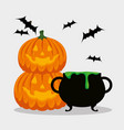 halloween card with cauldron and pumpkins vector image vector image