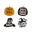 halloween set labels trick or treat vector image