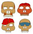 Hand Drawn Skull Mask Set vector image