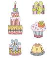 handdrwan birthday cake present vector image