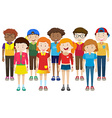 Happy teenagers standing together vector image vector image