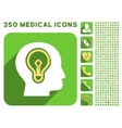 Head Idea Bulb Icon and Medical Longshadow Icon vector image vector image