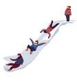 kids snow sliding down hill during winter holidays vector image