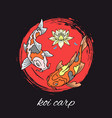 koi carps japanese fishes swimming with lily vector image