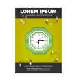 Leaflet design with green clock vector image vector image