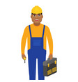 male builder dressed in workwear and a vector image vector image