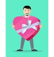 Man With Gift Box Flat Design vector image vector image