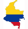 map colombia with national flag vector image