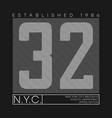 new york number typography graphics for t-shirt vector image vector image