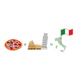 Pizza and Italian characters attractions Map and vector image