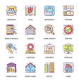 real estate flat icons set bedroom vector image vector image