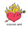 red burning heart pierced by arrow sizzling love vector image vector image