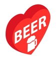 Red heart with text Beer and beer mug icon vector image
