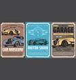 retro cabriolet and sedan cars vector image vector image