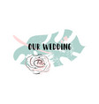 romantic wedding palm leaf border vector image vector image