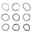 scribble circles set on a white background vector image vector image
