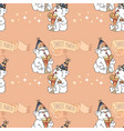 seamless pattern with cute bears on pink vector image vector image