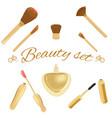 set of cosmetic brushes mascara lipgloss and vector image