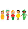 set of group of kids in costumes of different vector image