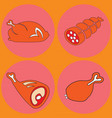 set of icons with meat products vector image