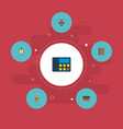 set of office icons flat style symbols with id vector image