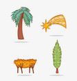 set palm tree wth star and cradle to epiphany vector image vector image