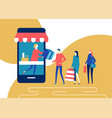 shopping online - flat design style colorful vector image vector image