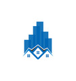 skyscraper building and house logo template vector image vector image