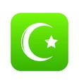 star crescent symbol islam icon green vector image