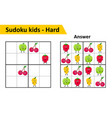 sudoku kids game with answers cute fruit vector image