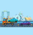 transport accident in urban landscape vector image vector image