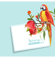 Tropical Flowers Pomegranates and Parrot Graphic vector image vector image