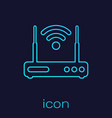 turquoise router and wi-fi signal symbol line icon vector image vector image