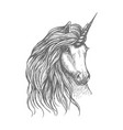 unicorn fantastic horse sketch for tattoo design vector image vector image