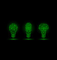 various green neon low poly light bulbs models vector image vector image