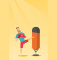 young caucasian man exercising with punching bag vector image vector image