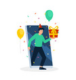 young man giving gift on smartphone vector image vector image
