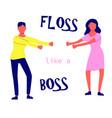 young people dancing popular floss dance flat vector image vector image
