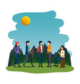 young people in camping zone vector image vector image