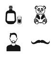 alcohol panda and other web icon in black style vector image