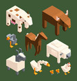 3d low poly animals isometric farm animals vector image
