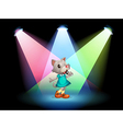 A cat singing with spotlights vector image vector image