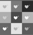 arrow heart sign grayscale version of vector image vector image