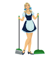 beautiful maid cleaner vector image