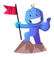 blue cartoon caracter on a mountain with a flag vector image vector image