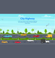 cartoon city panorama highway concept card vector image