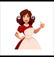 cartoon housewife retro woman vector image vector image