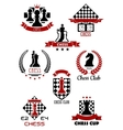 Chess sports game logos labels and symbols vector image